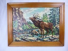 Vtg Paint By Number PBN Painting Call Of the Elk Palmer Paints 1953 Framed HUGE