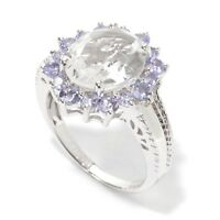 Size 7 Pinctore SS// 5.40ctw African Amethyst /& Black Spinel Solitaire w//Accent Ring