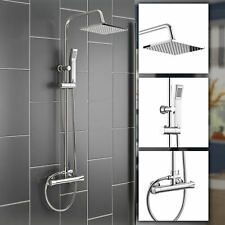 LOU THERMOSTATIC SHOWER MIXER SQUARE CHROME BATHROOM EXPOSED TWIN HEAD VALVE SET