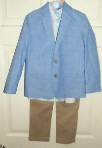 New Boys 3 Piece Suit sz 12 Blue Jacket Khaki Pants Striped Shirt Wonder Nation