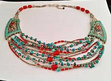 """NEPALESE ARTISAN HANDMADE TURQUOISE CORAL BEADS SILVER PLATED NECKLACE 16"""" L"""