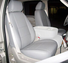CHEVY SILVERADO 2007-2013 GREY IGGEE S.LEATHER CUSTOM FRONT SEAT COVER