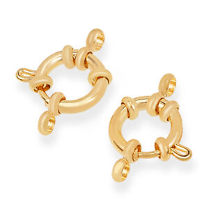 10x Real 24K Gold Plated 304 Stainless Steel Spring Ring Clasps Finding 12.5x4mm