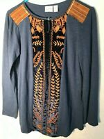 Zenergy by Chico's New Artsy Leaves Embroidered Front Soft Stretch Pull-ON Top O