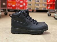 Nike Manoa Mens Leather Water Resistant Work Boots Triple Black 454350-003 Multi