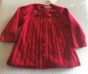 CATIMINI Girls 12m (Generous) Red fleece lined knitted cardigan/jacket- NWT