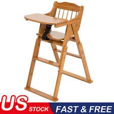 Baby High Chair Bamboo Stool Infant Feeding Children Toddler Restaurant Bl Us