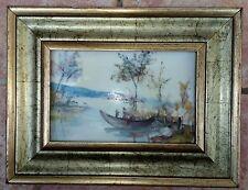 Paesaggio lacustre Dipinto olio su ceramica