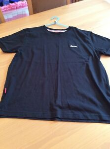 boys clothes 11-12 years Slazenger Black Cotton Short Sleeved Top T-shirt