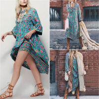 Europe and the United States Sexy V-neck Irregular Bohemian Print Dress Female