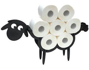 Toilettenpapierhalter Schaf Holz Schwarz WC Rollenhalter Stehend Klopapierhalter