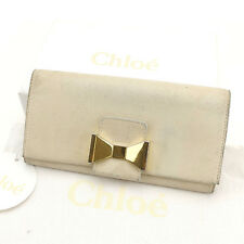 Chloe Wallet Purse Long Wallet Beige Gold Woman Authentic Used A1456