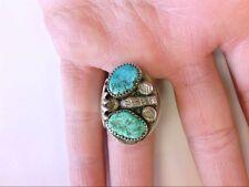 Ss Turquoise Ring. 11.5 Us S. Beautiful, Handmade Signed P. AdiLla Native Amer.