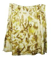 Calvin Klein Yellow Gold Skirt Cotton w Silk Lining Above Knee Size 14 EUC
