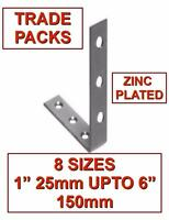 BZP CORNER BRACES CSK IN & OUT - 8 SIZES - RIGHT ANGLE METAL L BRACKET SUPPORT