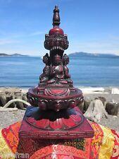 "GORGEOUS XLG 9+"" TIBETAN BUDDHIST STUPA CHORTEN STATUE 4 BUDDHAS ALTAR/SHRINE"