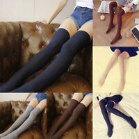 Knee-High Cashmere Fluffy Skinny Socks Wool Women Over Solid Thigh Boot