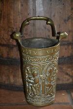 Antique 18th century brass ceremonial church hot coals bucket latin script c1780