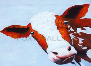 cow funny URBAN Graffiti Street Art Wall A0 CANVAS PRINT