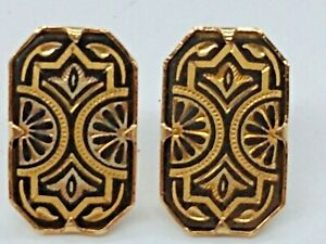 Midas of Toledo Spain - Damascene artwork Rectangle 24K stud earrings