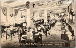 Miami, Florida Postcard THE SEVEN SEAS RESTAURANT & Cocktail Lounge c1940s