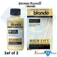 Set of 2 Jerome Russell BBlonde Powder Bleach 100g & Cream Peroxide 75ml 40Vol