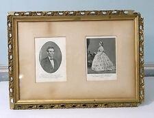 Abe Lincoln Print Mary Lincoln Print   Original Antique Photos & Frame