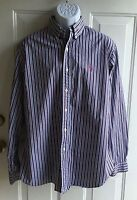 Ralph Lauren Men's Long Sleeve Blue Yellow Red Striped Shirt sz L