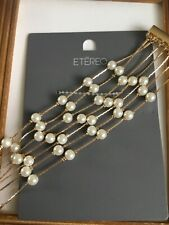 ETEREO MULTI STRAND G/T & FAUX PEARL BRACELET MAGNETIC CLASP