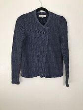 Ann Taylor Loft Sweater Jacket Black Blue Textured Knit Asymmetrical Zip Sz S P