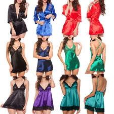 Sexy-Lingerie-Women-Silk-Lace-Dress-Babydoll-Nightdress-Nightgown-Sleepwear-Robe