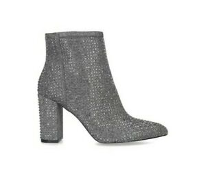 Carvela Shine Metallic Pewter Embellished Block Heel Ankle Boots Size 5 RRP 139