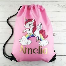 Personalised Kids BABY Unicorn Drawstring Swimming, School, PE Bag For Girls