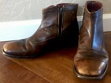 Mason Size 10 Distressed Leather Brown ZIP UP ankle boots Mens Hipster