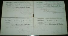 Lot of 4, 1867, WEST CHESTER, PA, RECEIPTS, CHESTER COUNTY, WARRINGTON & WALTER