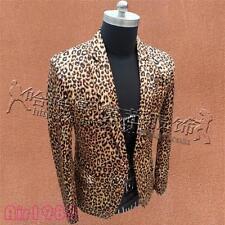 Mens Leopard Slim Fit Blazer One Button Lapel Stage Wedding Formal Jacket Coat