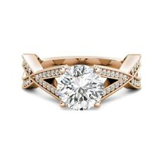 3.05 tcw Round Charles Colvard Moissanite & Diamond Engagement Ring 14k R Gold