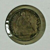 1872 SEATED LIBERTY SILVER HALF DIME