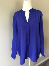 Noni B Blue Long Sleeve Button Down Shirt Top Size M Medium NWT