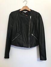 ❤️ZARA Fashion Womens Black Leather Crop Jacket Coat Clothes M💜