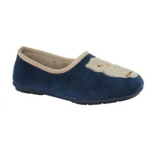 Sleepers memory foam slip on slippers style Holly owl  Colour Navy sz eu 42