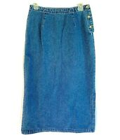 Eddie Bauer Size 10 Denim Long Straight Maxi Skirt Modest Casual Blue Jean