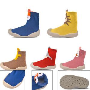 Kids Baby Girl Boys Toddler Non-slip Slippers Socks Cotton Shoes Winter Warm UK