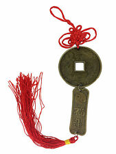 Yin Yang Chinese Coin Mystic Knot Tassel Hanger Chinese Characters Feng Shui