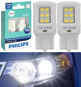 Philips Ultinon LED Light 7443 White 6000K Two Bulbs Front Turn Signal Stock OE