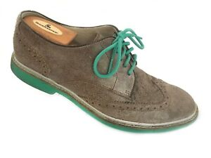 Cole Haan Air Franklin Men's Taupe Wingtip Oil Suede Oxford Shoes Green Lace 8.5