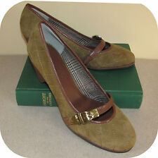 """Etienne Aigner Quilted Suede Mary Jane Pumps 6.5M Brown & Olive 2"""" Heel"""