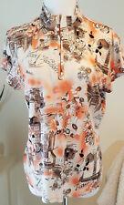Bobby Chan Womens shirt Paris Short Sleeve Silk Blend Front Zipper Flower Large