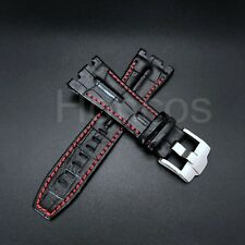 28MM Alligator Leather Watch Band Strap Fits For AP Audemars Piguet Black Red 42
