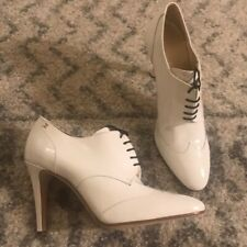 Chanel oxford white patent leather booties; NIB; Sz 40; $950